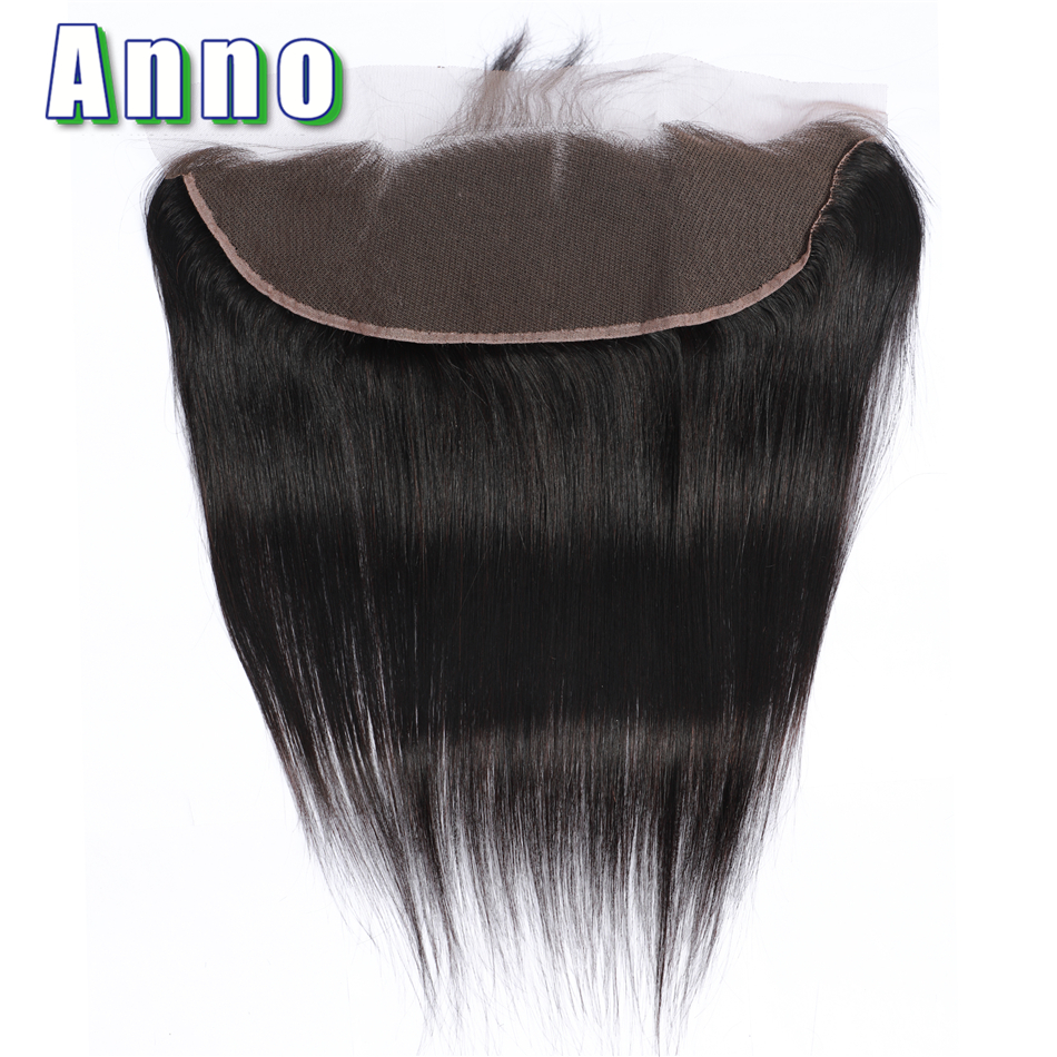 Anno Hair 13*4  Brazilian Straight Lace Frontal Human Hair Closure Middle/Free/Three Part Non Remy Hair Natural Color No Smell(China)
