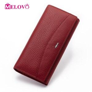 Image 3 - MELOVO wyjątkowa wyprzedaż!! 100% portfel z prawdziwej skóry wołowej portfele damskie sprzęgła długa torebka designerska torebka JL18