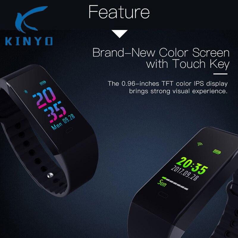 KINYO estrenar deportes banda de la presión arterial fitness tracker pulsera inteligente banda regalos para novia cuidado de la salud