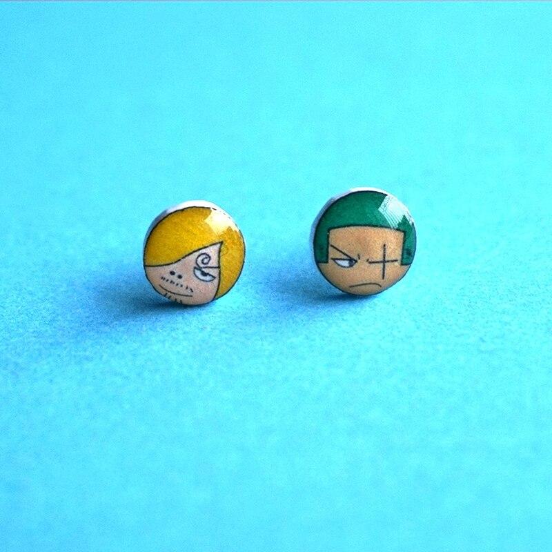 Japanese Cartoon Jewelry ZORO& Sanji Original Hand-painted Sterling Silver Stud Earrings Ear Clip Magnet for Women Men Girl