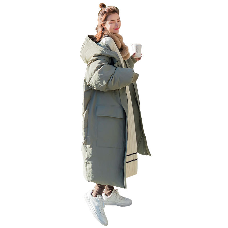 Winter Down Cotton Long Jacket   Parka   Coat BF Style Loose Casual Warm Thicken Jacket Outerwear Hooded Oversized Coat Women Q957