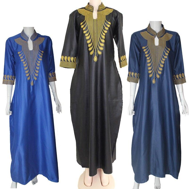 2016 Dashiki Afrikanska Bomullsklänningar För Kvinnor Top Bazin - Nationella kläder - Foto 1
