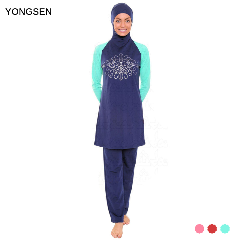 YONGSEN Modest Muslim Swimwear Hajib Islamic Swimsuit For Women mayo Full Cover Conservative Burkinis Swim Wear Plus Size
