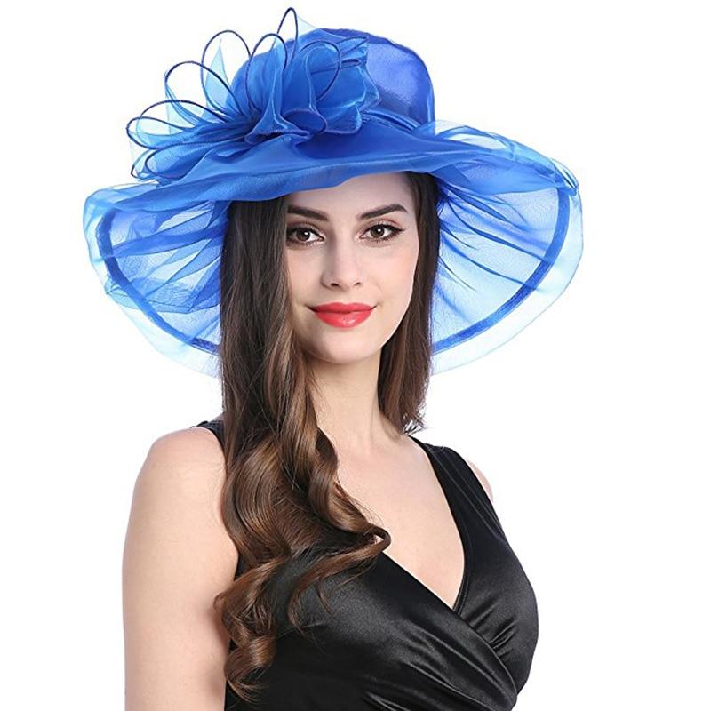 abafd1b3f0d Aliexpress.com   Buy FGHGF Women Organza Wide Brim Summer Sun Hat Elegant  Floral Adorn Ladies Church Kentucky Derby Fascinator Tea Party Wedding Hat  from ...