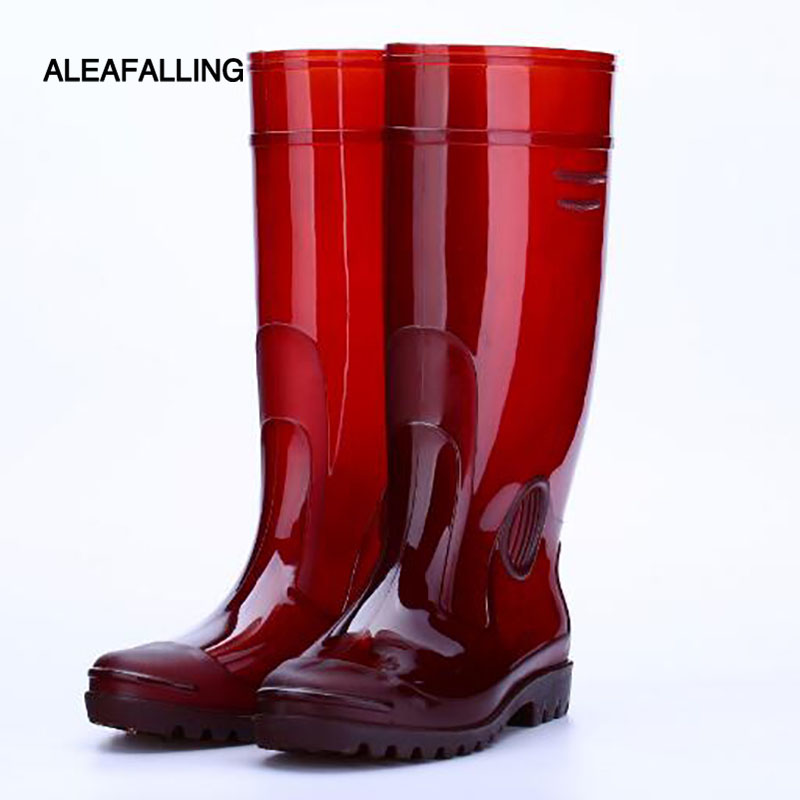 Aleafalling Pvc Waterproof Rain Boots Camouflage Flat With Shoes Men Rain Unisex Water Rubber Knee High Boots Slip-on Botas M044 image