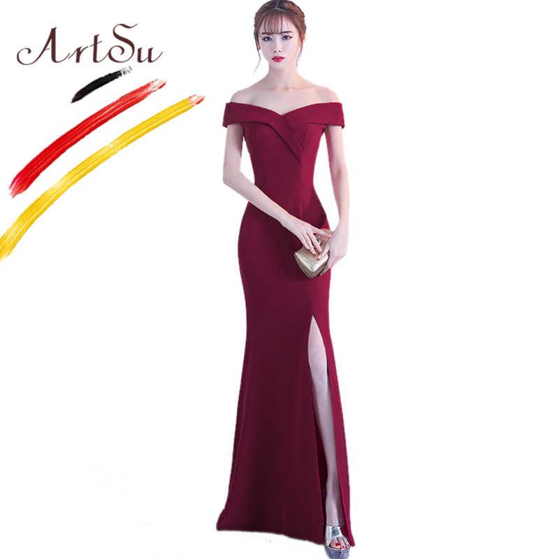 ArtSu elegante vestido de fiesta para mujer vestido largo con hombros descubiertos ajustado hasta el suelo vestido de fiesta Sexy Vestidos vestido Maxi sirena 2018