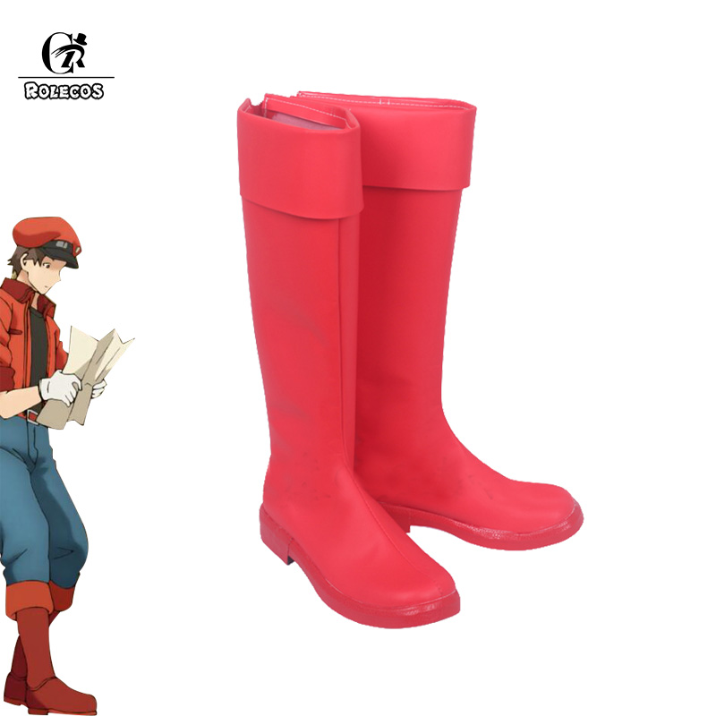ROLECOS Hataraku Saibou Cosplay Shoes Red Blood Male Boots Erythrocytes Cosplay Boots Red Shoes