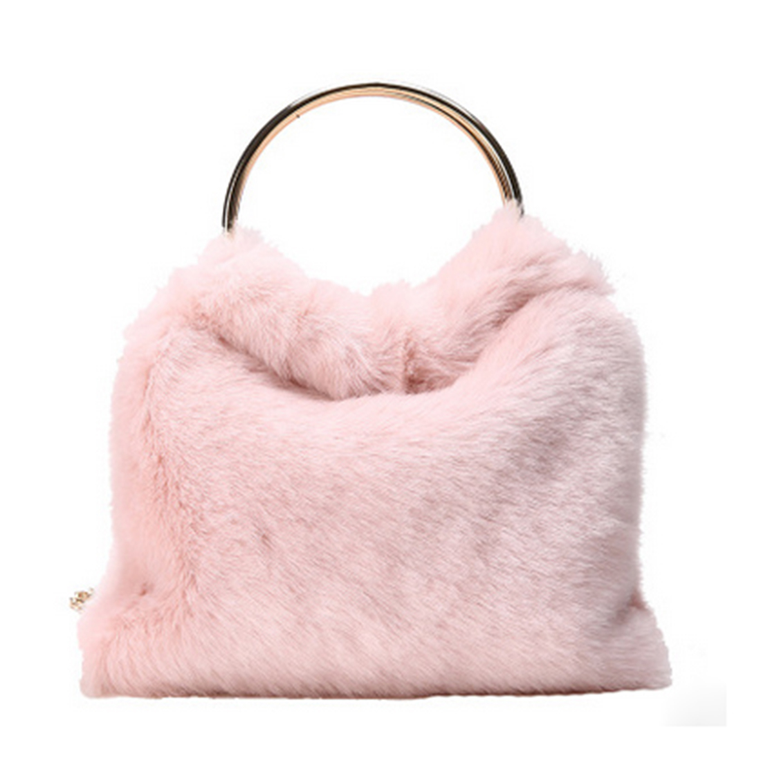 5427fcce0d 2017 Women Faux Fur Handbags Luxury bucket bags Famous Brand Fur Clutch Bag  Circle Party Bag round handle shoulder messenger bag-in Crossbody Bags from  ...