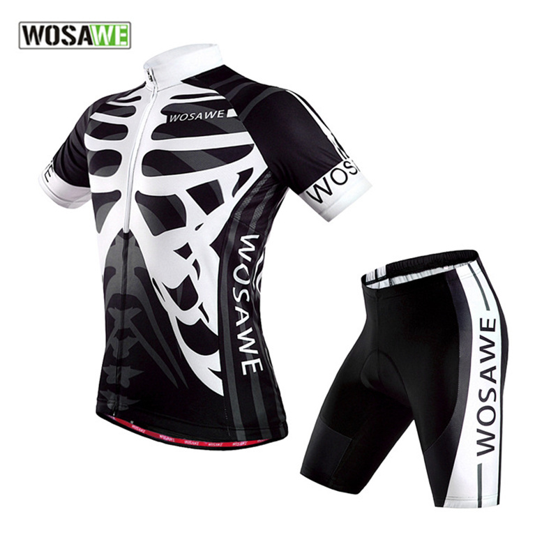 WOSAWE Black White Skull Cycling 4D Gel Padded Shorts + Long Sleeve Jersey Set Men Bike Bicycle Breathable Sports Clothing Suit