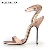 2018 NEW Handmade Women Sandal Designer Shoes Iron Metal 12.4cm High Heels Black Open Toe Ankle Strap Sexy High Heel Sandals