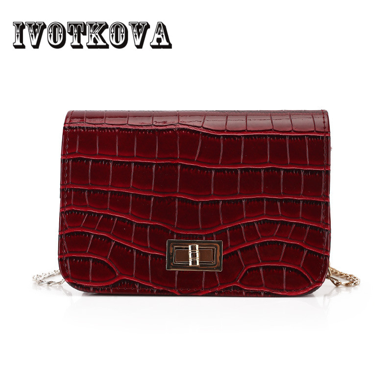 IVOTKOVA Fashion Women Messenger Bag Chain Clutch Purse Crocodile Female Cross Body Bags ...