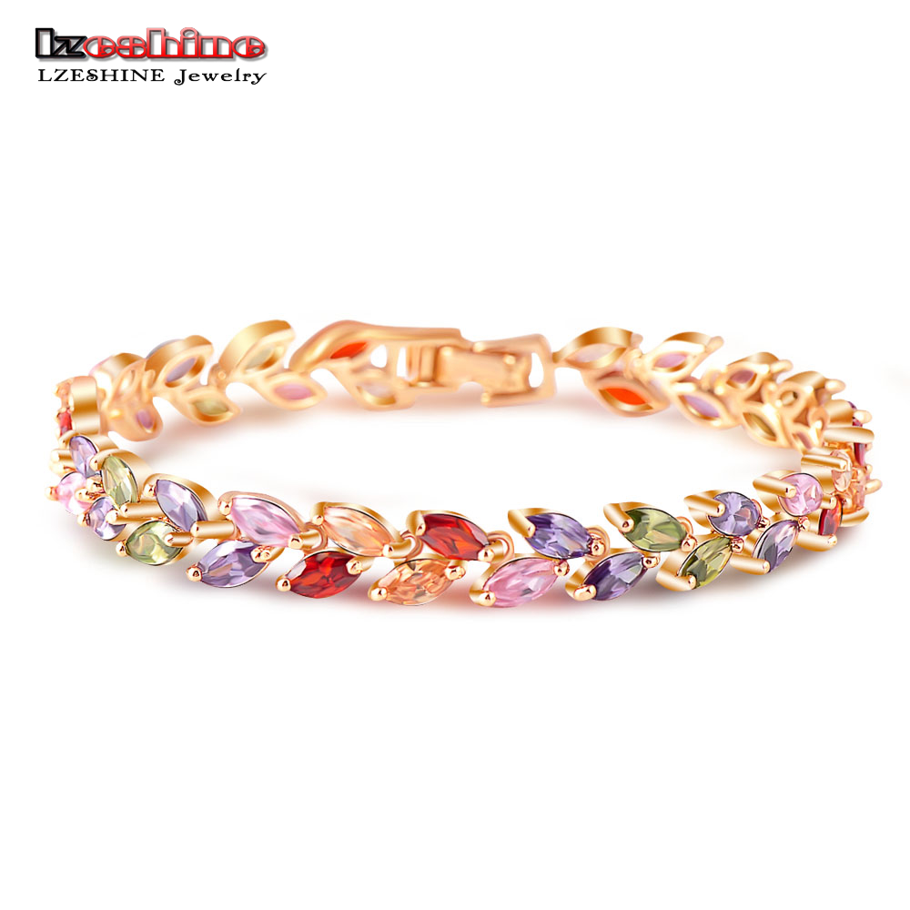 LZESHINE New Collection Colorful Stone Leaf Shape Charm Bracelets & Bangles Fashion Women Bracelets AAA Zirconia Jewelry CBR0028 silver multi layers chain with leaf shape charm bracelets