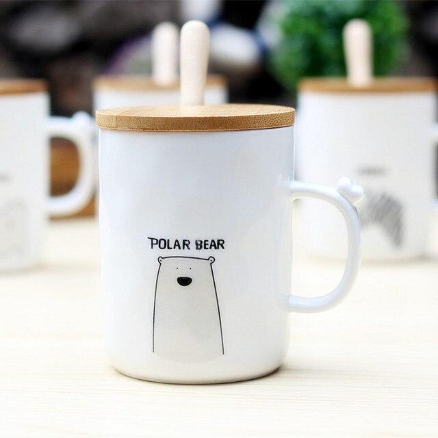 d52bdc9a4e1 New black and white literary animal cup straight ceramic wood lid milk mug  creative couple coffee
