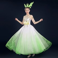women ladies pink/green flower vine embroidery vein dress event  Dresses fairy dress ball party dance long stage performance