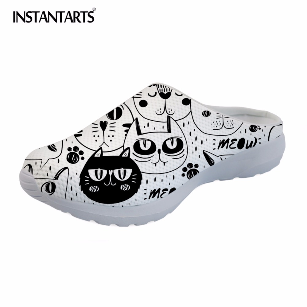 INSTANTARTS 2018 New Women Summer Slippers Cute Cartoon Cat Print Breathable Mesh Beach Shoe Lightweight Air Mesh Sandals Girls instantarts women flats emoji face smile pattern summer air mesh beach flat shoes for youth girls mujer casual light sneakers