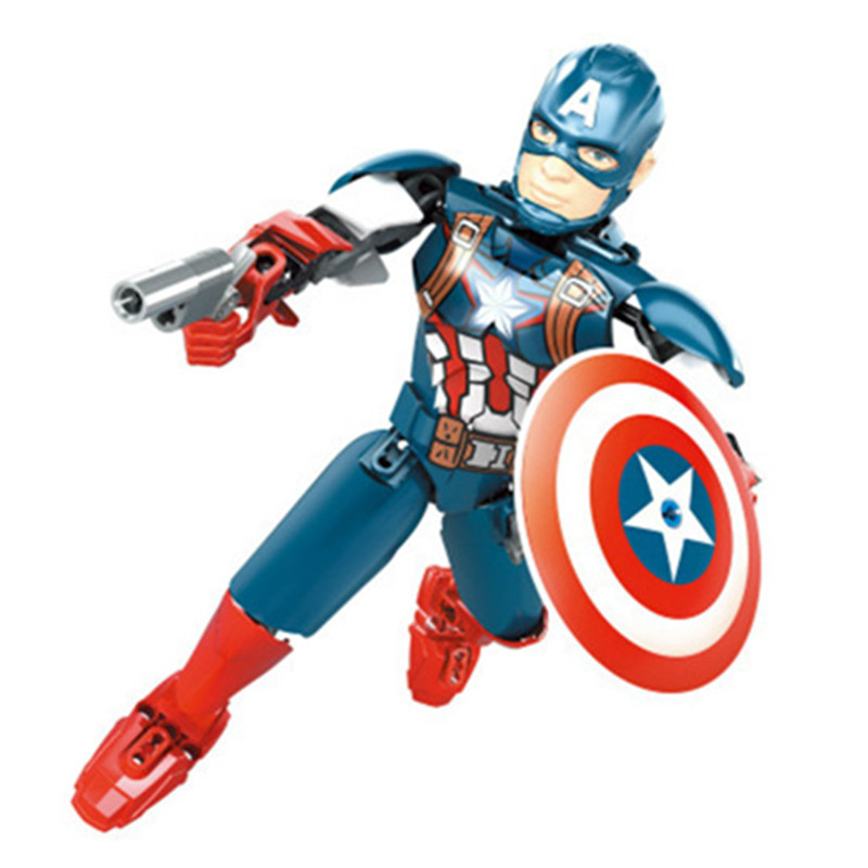 Single Sale Captain America Figure Super Heroes The Movie Series Legoings Model Building Blocks Set Brick Toy pg8017 super heroes avengers movie scorpion sdcc captain america stan lee building blocks model children bricks toy