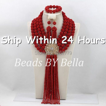Luxury Solid Red Crystal Beads Necklace Set African Beads Jewelry Set Fashion Wedding Bridal Jewelry Set Free Shipping ABC644