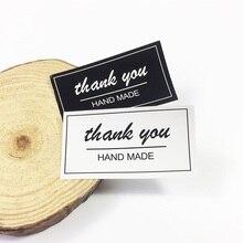 80 Pcs/lot Black&White thank you HAND MADE Seal Label Sticker DIY Handmade For Gift Cake Baking Scrapbooking Sealing