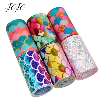 JOJO BOWS 75mm 2y Grosgrain Ribbon For Craft Mermaid Printed Bronzing Tape DIY Hair Bows Apparel Sewing Gift Wrapping Home Decor