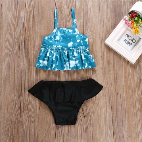 2Pcs Toddler Baby Girls Ruffles Swimwear Bathing Bikini Set Outfits Swimsuit Bathing Suit -8178