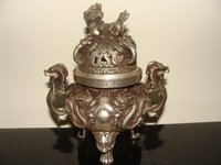 Rare Distinctive Old Ming Dynasty silver censer/ incense stove Carved dragon with mark Free shipping