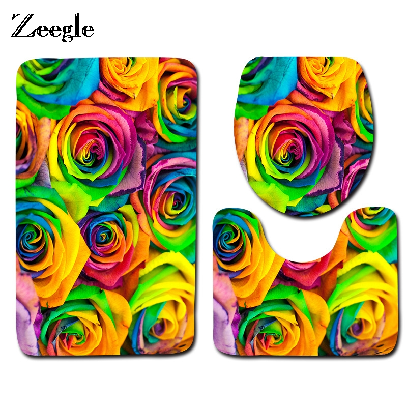 Zeegle Colorful Flower 3pcs Anti-Slip Bath Mats Bathroom Rugs Floor Mats Toilet Mat Carpet Lid Toilet Cover Bathroom Products