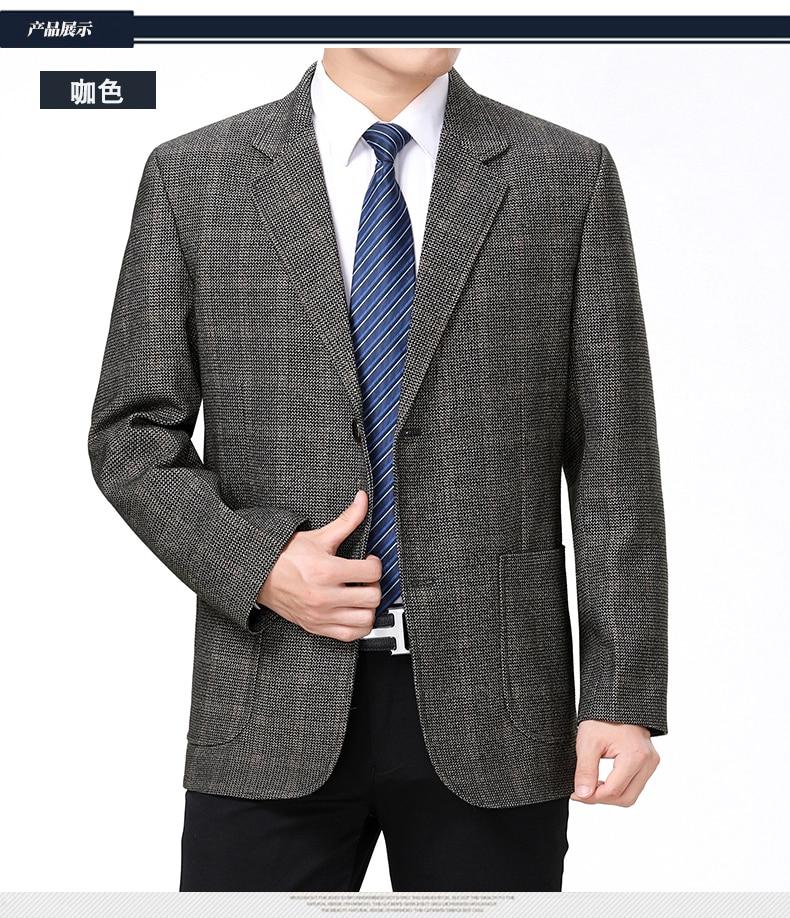 WAEOLSA Mature Men Business Casual Blazers Coffee Gray Texture Suit Coat Man Classical Blazer Hombre Notched Collar Suit Jacket (4)