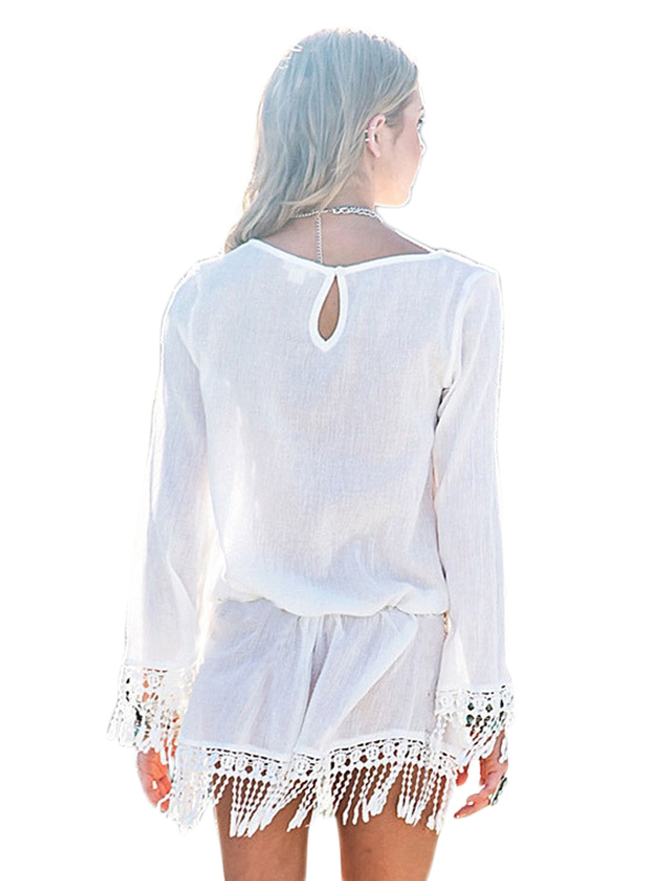 a5c942f2ab Aliexpress.com   Buy Summer Sun Dress Sexy Women O neck Long Sleeve Lace  Crochet Tassel Chiffon Mini Cover ups Solid Tunic Beach Dress Vestido from  Reliable ...