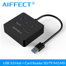 AIFFECT High Speed 3 Ports USB Splitter 3.0 HUB Converter with TF SD M2 MS Card Reader Micro USB Power Interface for Laptop PC siyoteam sy m83 high speed usb 2 0 m2 tf card reader blue white