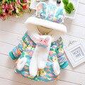 2015 новый осень зима цветочным узором новорожденный куртки симпатичные плюс бархат теплые новорожденных девочек хлопка костюм 0 ~ 2 несовершеннолетних девочек верхняя одежда