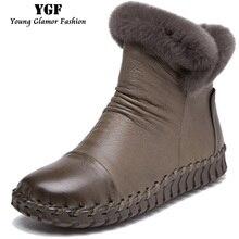 ผู้หญิงรองเท้าฤดูหนาวรองเท้าหนังแท้อบอุ่นเร็กซ์ขนกระต่ายรองเท้าข้อเท้าของผู้หญิงรองเท้าซิปFull G Rainหนังแพลตฟอร์มรองเท้า