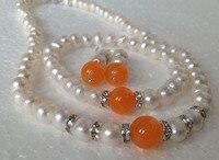 Real de perlas cultivadas/orange pulseras aretes collar fijaron/a06 ^ ^ ^ nuevo estilo fino jewe noble natural envío gratis