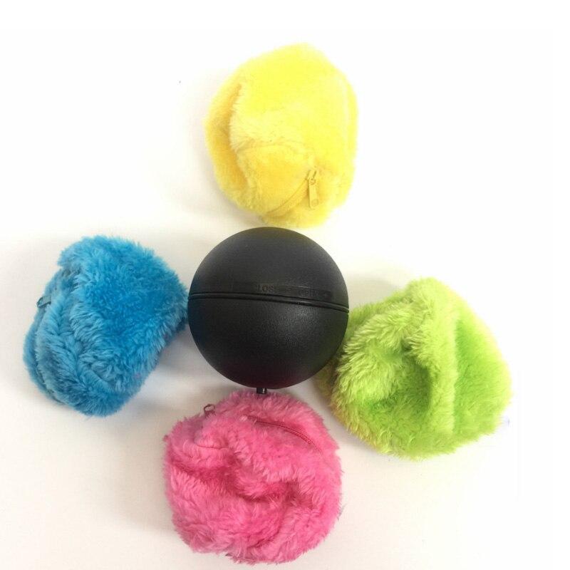1 satz/4 stücke Automatische Roll Vakuum Stock Kehr Roboter Reiniger Mikrofaser Ball Reinigung Mit Bunte Reinigung Abdeckungen Set HEIßER