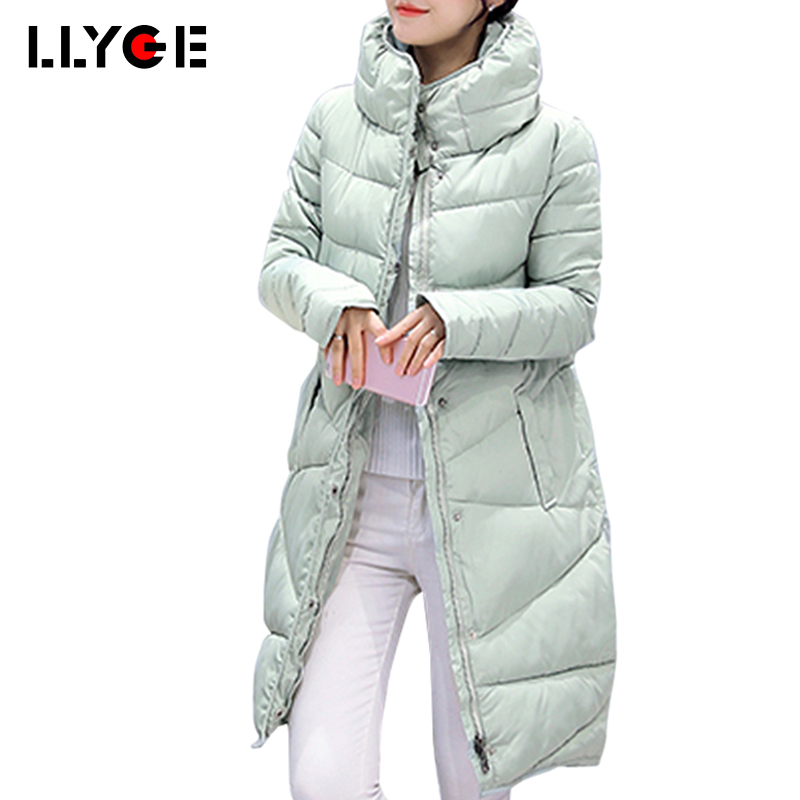 LLYGE Winter Coat Slim Down Loose Thickening Jacket Women Outwear High Quality Female Cotton Padded Jacket Ladies Long Parka top quality maternity long jacket 90% white duck down coat winter mother cotton padded loose clothing thickening white black red