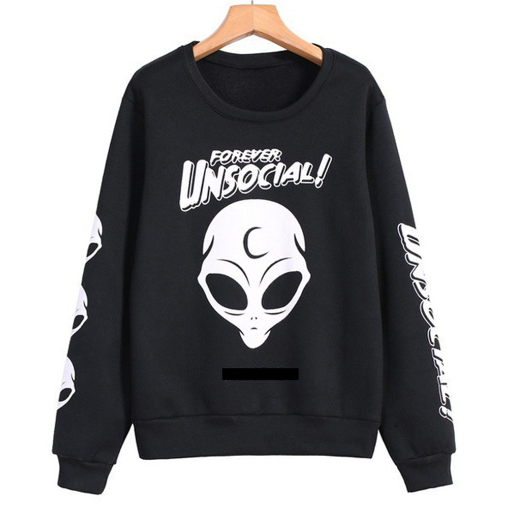 2018 Gothic Hoodies Autumn Winter Harajuku skull Print Pullover Hoodies Loose Women Hoodies Sweatshirts Female Casual Coat
