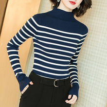 Striped high turtleneck elastic knit slim pullovers sweater 2018 new women autumn long sleeve