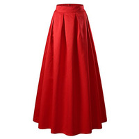High Quality Red Pleated Satin Long Skirt Women Elastic High Waist A Line Flared Maxi Skirt
