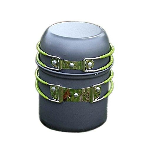 JHO-Tragbar Outdoor Cooking Set Eloxiertem Aluminium Non-Stick Pot Camping Picknick Wandern Utensilien fuer eine Person