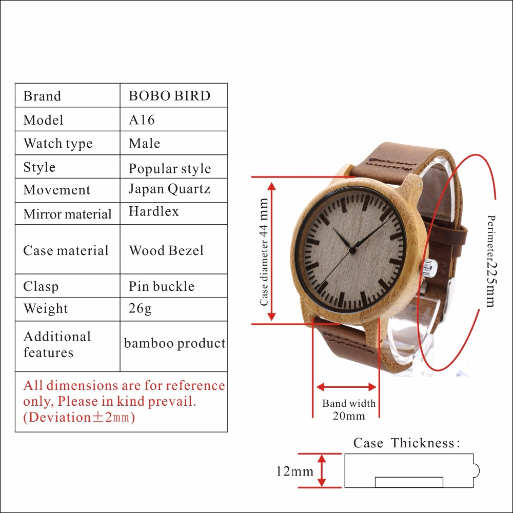 A16 bobo bird watches luxury fashion wood watches