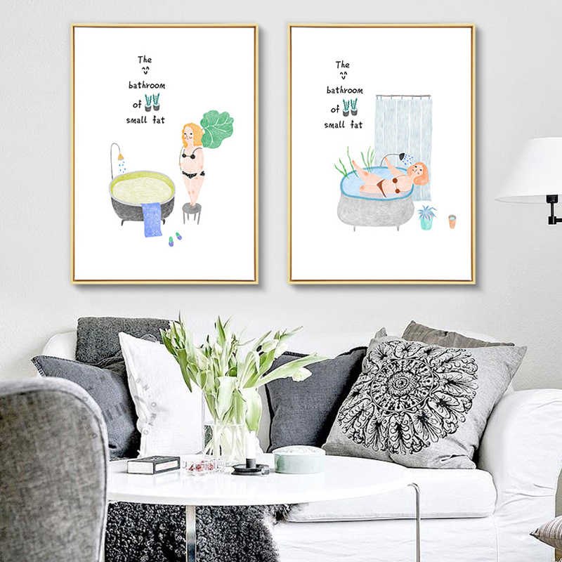 Watercolor Cartoon Woman and Green Plant Wall Picture Canvas Painting Print No Frame Scandinavian Room Bathroom Poster Decor