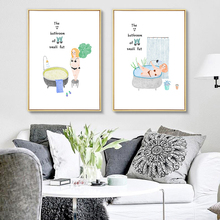 Watercolor Cartoon Woman And Green Plant Wall Picture Canvas Painting Print  No Frame Scandinavian Room Bathroom