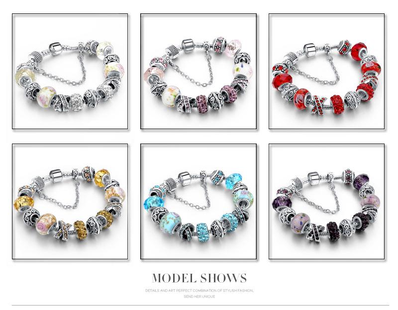 CHICVIE Black Crystal Chain Link Bracelets For Women Female Charm Custom Bracelets & Bangles DIY Silver Color Jewelry SBR160014 7