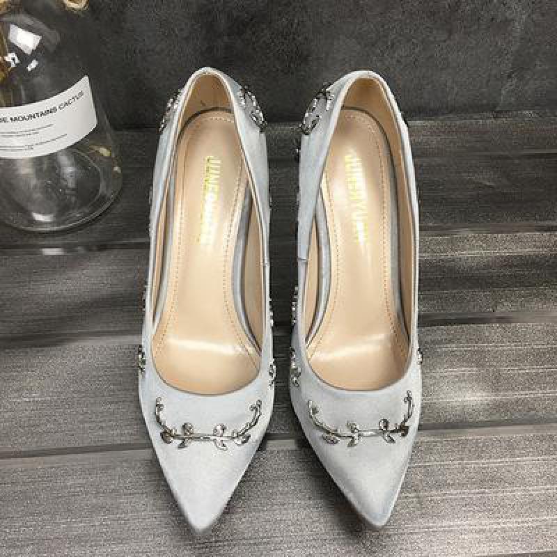 Mariage Piste Chaussures 6 4 Peu Pompes Mince 1 Partie Parti 3 Femmes 5 Bout Satin Robe Embelli Talon 2 Stylet Haute Feuilles Profonde De Pointu Métal qHKwUa4