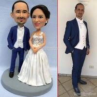 Полимерная глина для пользовательские лицо миниатюрный романтические свадебный торт Топпер цифра невеста жених пара свадебные украшения