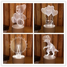3D 3 Color Celebrity Anime Novelty Dinosaur/ Bear/ Ferris Wheel/Sky wheel Led Projection Lamp Sleep Light Party Digital Toy Gift