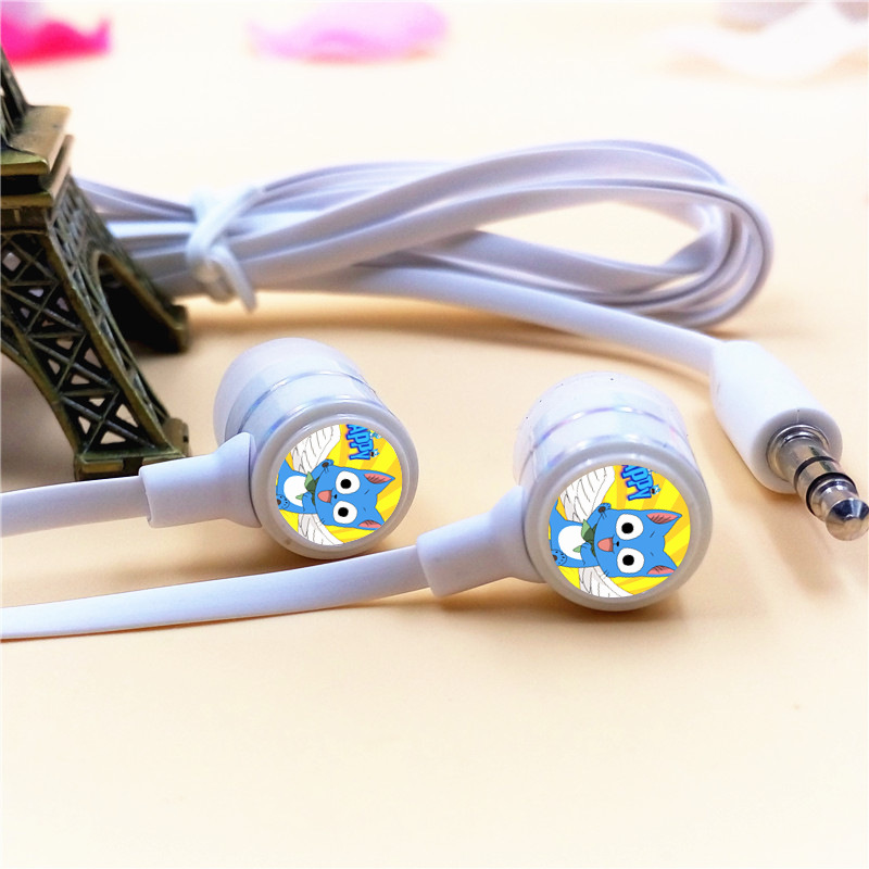Anime Fairy Tail Cat Happy In-ear Earphone 3.5mm Stereo Earbuds Microphone Phone Game Headset for Iphone Samsung Xiaomi Mp3 PSP