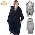 Maternidade casaco Jaqueta Com Capuz Zipper Ocasional das Mulheres Plus Size casaco casaco casacos de inverno para as mulheres grávidas grávidas maternidade Cinza