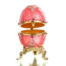 Faberge Style Egg Shaped Trinket Box Hinged Jewelry Ring Holder Collectible Figurine Boxes w/ Crystals (Pink) Wedding Favors
