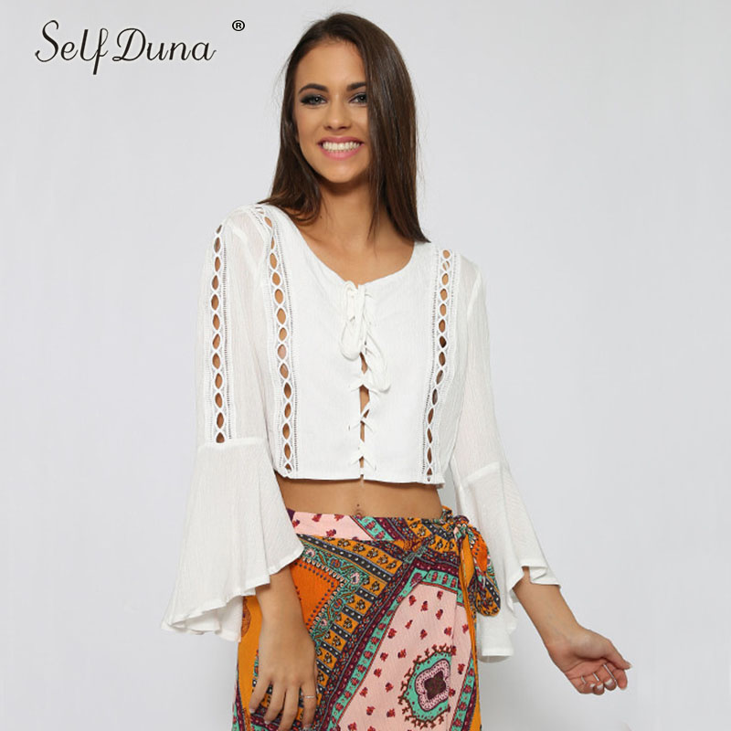 Self Duna 2018 Summer Sexy Crop Top Women Lace Up Blouse Shirt Hollow Out Long Sleeve Elegant Black White Blouse Cardigan
