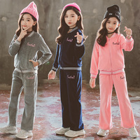 High Quality Children Clothing Sets Cotton Spring Autumn Sports Suits for 2 15Yrs Teens Girls Sportswear Casual Tracksuits CA339